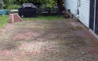 heavily stained paver patio with moss and plants overgrown