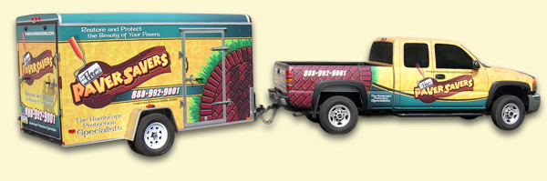 The Paver Savers work truck and trailer