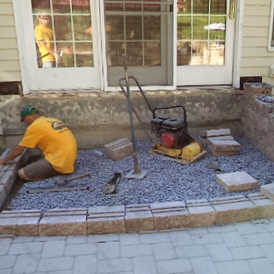 sunken patios and steps