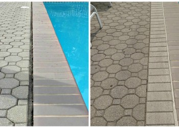 before and after repairing pavers for a gap in pool deck