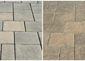 before and after using enhanced sealer on paver patio
